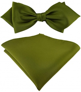 vorgebundene TigerTie Spitzfliege + Einstecktuch in farngrün einfarbig + Box