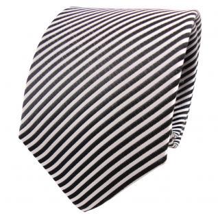 TigerTie Seidenkrawatte anthrazit grau silber weiß gestreift - Krawatte Seide - Vorschau 1
