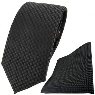 TigerTie Krawatte + Einstecktuch in anthrazit dunkelgrau gepunktet