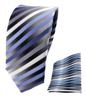 schmale TigerTie Seidenkrawatte + Einstecktuch blau anthrazit silber gestreift