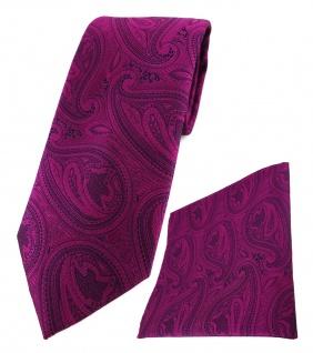 TigerTie Designer Krawatte + Einstecktuch magenta lila schwarz Paisley gemustert - Vorschau 1