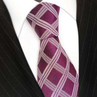 Designer Seidenkrawatte rot purpurrot silber kariert - Krawatte 100 % Seide Silk