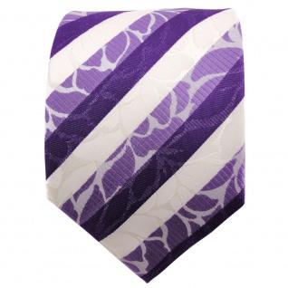 TigerTie Seidenkrawatte lila blaulila weiß gestreift - Krawatte Seide Binder - Vorschau 2