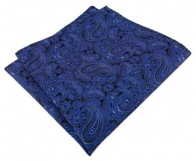 TigerTie Seideneinstecktuch in dunkeblau silber schwarz Paisley gemustert