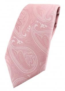 TigerTie Designer Krawatte in rosa altrosa silber Paisley gemustert