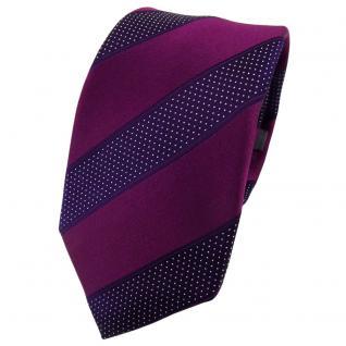 Enrico Sarto Seidenkrawatte lila dunkellila silber gestreift - Krawatte Seide