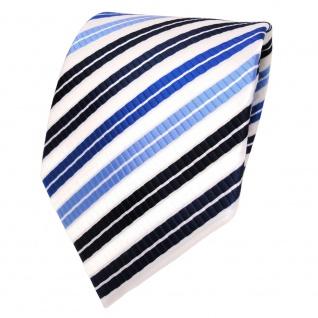 TigerTie Designer Krawatte blau hellblau dunkelblau weiss gestreift