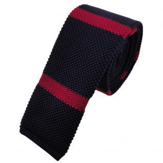 Schmale Strickkrawatte blau dunkelblau rot gestreift - Krawatte Polyester Tie