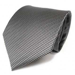TigerTie Designer Krawatte in silber grau-schwarz gestreift - Schlips Binder Tie