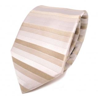 feine Designer Seidenkrawatte in beige grau gestreift - Krawatte 100% Seide