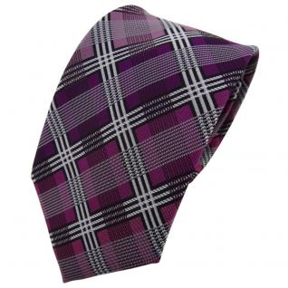 TigerTie Designer Krawatte magenta silber grau schwarz kariert - Schlips Tie