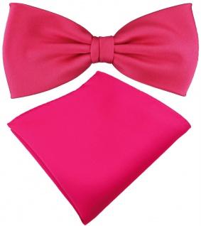 TigerTie Satin Fliege + Einstecktuch pink knallpink leuchtpink Uni + Geschenkbox
