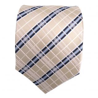 TigerTie Seidenkrawatte creme elfenbein weiss blau gestreift - Krawatte Seide - Vorschau 2