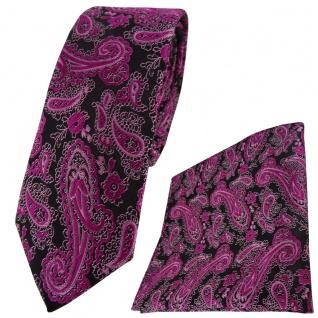schmale TigerTie Krawatte + Einstecktuch in magenta schwarz silber Paisley