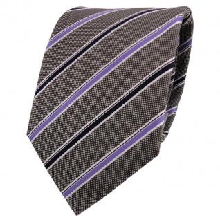 Designer Krawatte lila flieder blau grau weiß gestreift - Schlips Binder Tie