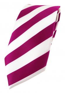 TigerTie Designer Krawatte in magenta weiss gestreift