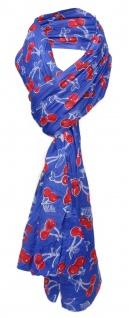gecrashter Schal in blau rot weiß Kirschenmotive - Gr. 180 x 50 cm