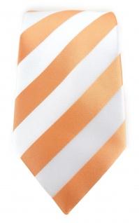 TigerTie Designer Krawatte in apricot weiss gestreift - Vorschau 2