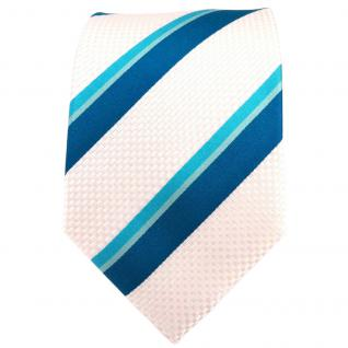 TigerTie Seidenkrawatte türkis petrol perlmutt gestreift - Krawatte 100% Seide - Vorschau 2