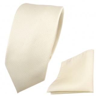 Schmale TigerTie Krawatte + Einstecktuch beige elfenbein champagner Uni Rips