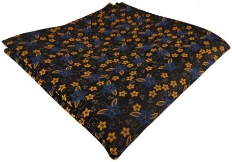TigerTie Designer Einstecktuch in braun dunkelbraun bronze gold blau geblümt