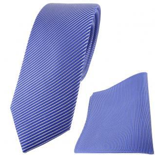 schmale TigerTie Seidenkrawatte + Einstecktuch blau signalblau silber gestreift