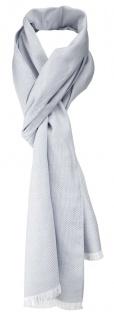 TigerTie Unisex Schal Pique in hellgrau-weiß uni gemustert - Größe 180 x 28 cm
