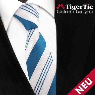 schmale TigerTie Satin Krawatte türkis ozeanblau weiß silber gestreift - Binder - Vorschau 3