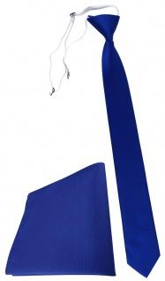 TigerTie Sicherheits Krawatte + Einstecktuch in royal blau einfarbig Uni Rips