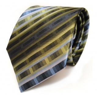 schöne Seidenkrawatte dunkelgrün blau grau gestreift - Krawatte reine Seide