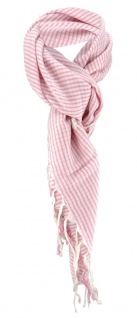 Halstuch in rose rosa beige gestreift mit Fransen - Größe 100 x 100 cm