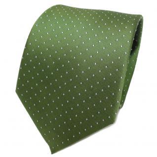 TigerTie Designer Seidenkrawatte grün maigrün silber gepunktet - Krawatte Seide