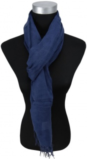 Schal marine dunkelblau einfarbig Uni mit Fransen - 200 x 50 cm - Tuch Baumwolle