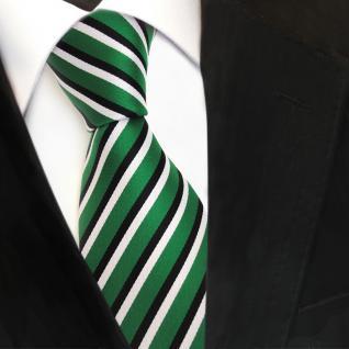 TigerTie Designer Krawatte - Tie Binder grün signalgrün schwarz weiss gestreift