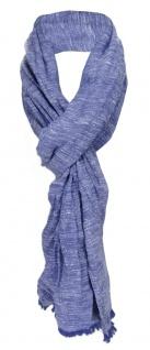 gecrashter Schal in blau dunkelblau Uni mit kleinen Fransen - Gr. 180 x 50 cm