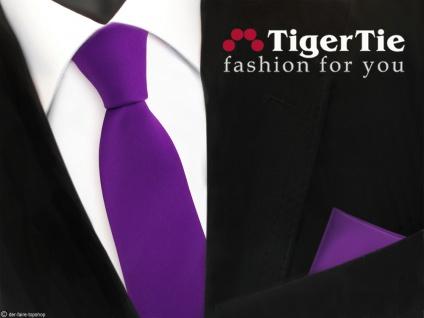 schmale TigerTie Satin Krawatte + Einstecktuch lila violett Uni - Schlips Binder