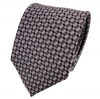 TigerTie Seidenkrawatte silber grau anthrazit kariert - Krawatte Seide Silk