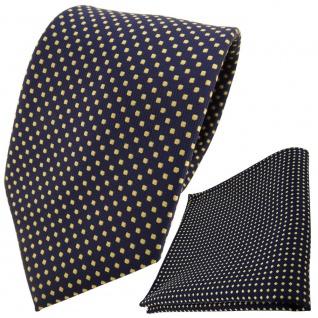 TigerTie Designer Krawatte + Einstecktuch blau dunkelblau royal gold gepunktet