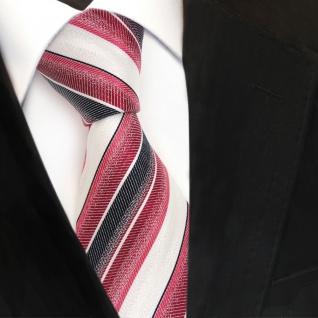 Designer Seidenkrawatte rot karminrot weiss blau gestreift - Krawatte Seide Tie