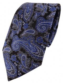 TigerTie Designer Krawatte in blau schwarz silber Paisley gemustert