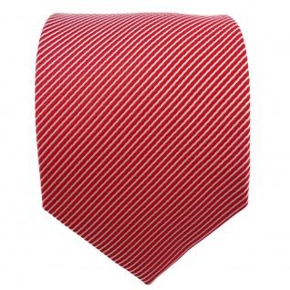 Satin Seidenkrawatte rot verkehrsrot silber gestreift - Krawatte Seide Binder - Vorschau 2