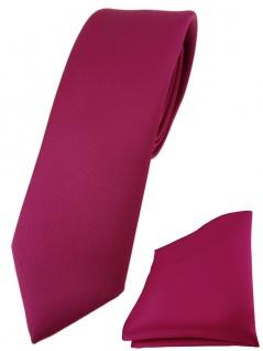schmale TigerTie Designer Krawatte + Einstecktuch in pink einfarbig uni