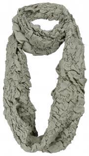 Damen Loop Schal in oliv im Knitterlook - Größe 180 x 40 cm - Rundschal