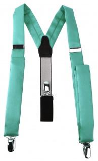 schmaler TigerTie Unisex Hosenträger mit 3 extra starken Clips - grün mint Uni
