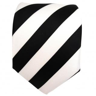 TigerTie Designer Krawatte - Schlips Binder schwarz weiss gestreift - Tie - Vorschau 2