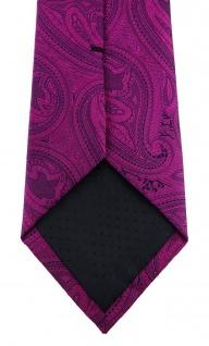 TigerTie Designer Krawatte in magenta beere lila schwarz Paisley gemustert - Vorschau 4