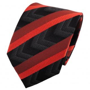 TigerTie Seidenkrawatte orange rotorange schwarz anthrazit gestreift - Krawatte