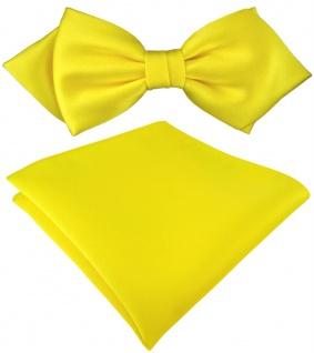 vorgebundene TigerTie Spitzfliege + Einstecktuch in gelb Uni einfarbig + Box