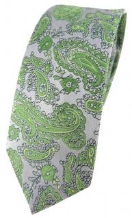 schmale TigerTie Designer Krawatte in grün silber Paisley gemustert
