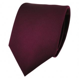 TigerTie Designer Krawatte bordeaux rot weinrot Uni Rips - Binder Tie
